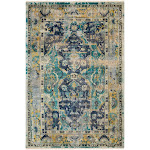 """Surya Festival Fvl-1001 2'0"""" x 3'0"""" Navy, Teal, Wheat, Taupe, White Area Rug"""