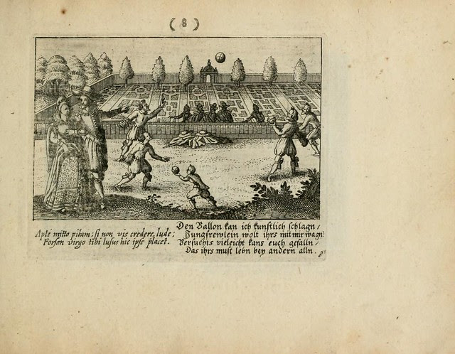 engraved outdoor Renaissance scene of volleyball-like game