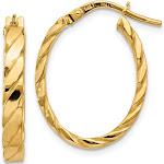 Versil 14K Yellow Gold Patterned Oval Hoop Earrings