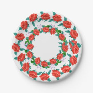 Paper Plates with Roses 7 Inch Paper Plate