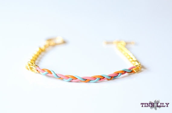TINNLILY Sorbet Leather and Chain Braided Bracelet