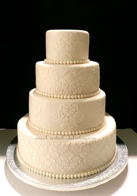 Ivory Damask Wedding Cake   CakeCentral.com