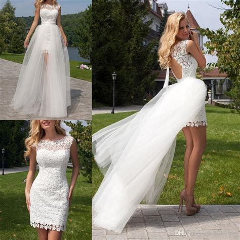 Discount Short White Lace Overskirts Wedding Dresses With