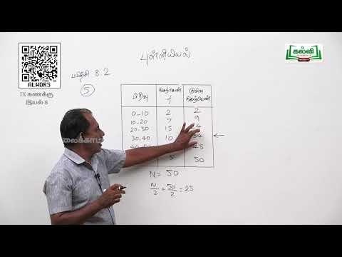 9th Maths புள்ளியியல்  இடைநிலை அளவு, முகடு அலகு8 பகுதி2 Kalvi TV