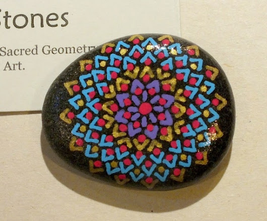 Hand Painted Mandala Stone with Turquoise Violet by AlchemyStones