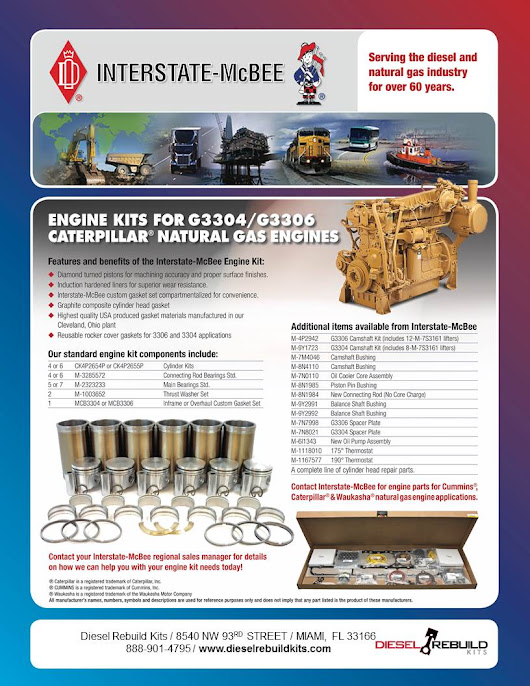 New Interstate-Mcbee Products | CAT 3304 & 3306 Natural Gas Series - Diesel Rebuild Kits - Engine Rebuild Kits & Parts for Detroit Diesel, CAT, Cummins, Komatsu & More