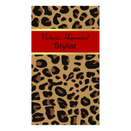 Chic Leopard Print Stylist Business Cards