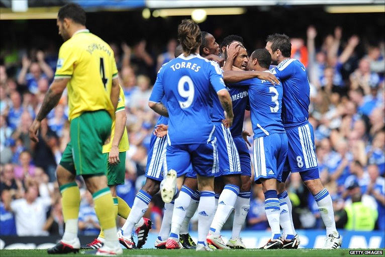 Chelsea celebrate their opening goal against Norwich