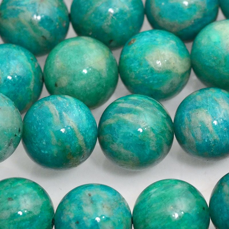 s47927 Stone Beads - 10 mm Round - Russian Amazonite AA