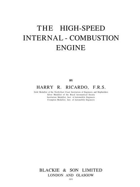 The High Speed Internal Combustion Engine by Sir Harry