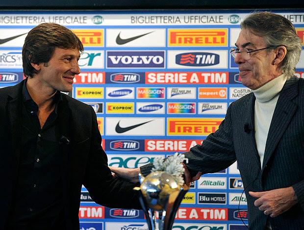 Leonardo e Massimo Moratti  na apresentação no Inter de  Milão
