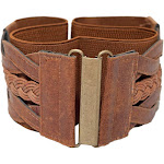 eVogues Apparel Women's Braided Elastic Leatherette Fashion Belt Brown - One Size Plus