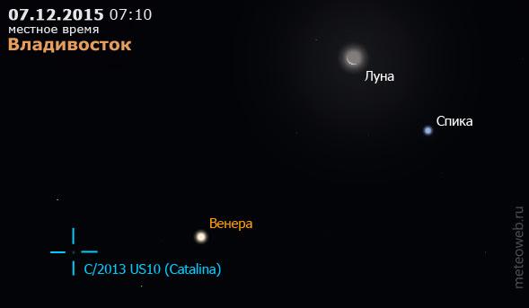Убывающая Луна на утреннем небе Владивостока 7 декабря 2015 г.