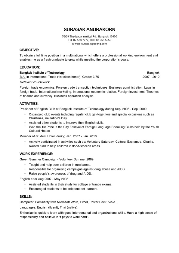 Objective Basic Resume Samples For Thailand Employer  SampleBusinessResume.com