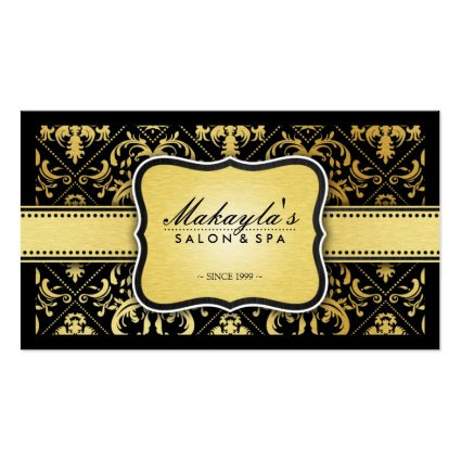 Elegant Modern Black and Metallic Gold Damask Business Card Template