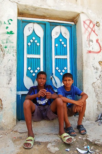 Two Libyan boys relaxing in Tripoli