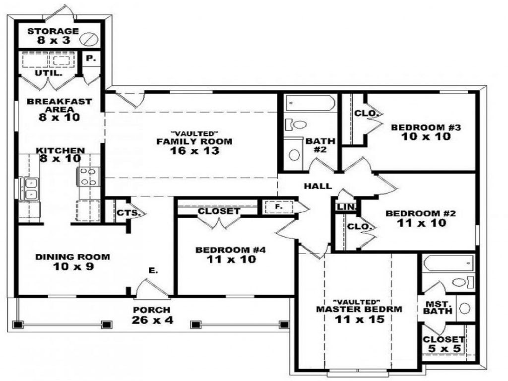 Awesome 2  Bedroom  House  Plans  One Story  New Home  Plans