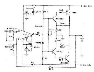 Power Amplifier OCL 50W by 741 2N3055 MJ2955 with PCB