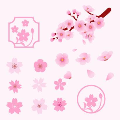 色んな形の桜の花イラストaieps ベクタークラブイラストレーター