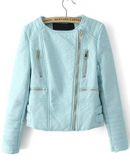 Zipper Crop PU Jacket-Blue pictures