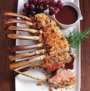 Roast Lamb with Lamb Sausage Crust and Fresh Grape Pan Sauce    Roast Lamb with Lamb Sausage Crust and Fresh Grape Pan Sauce