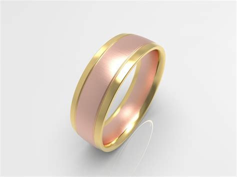 'XV' Brushed Rose and Yellow Gold Two Tone Mens Wedding Band