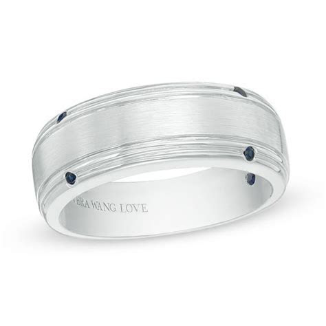 Vera Wang Love Collection Men's Blue Sapphire Four Stone