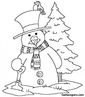 printabel coloring sheet snowman near christmas tree  printable coloring pages for kids