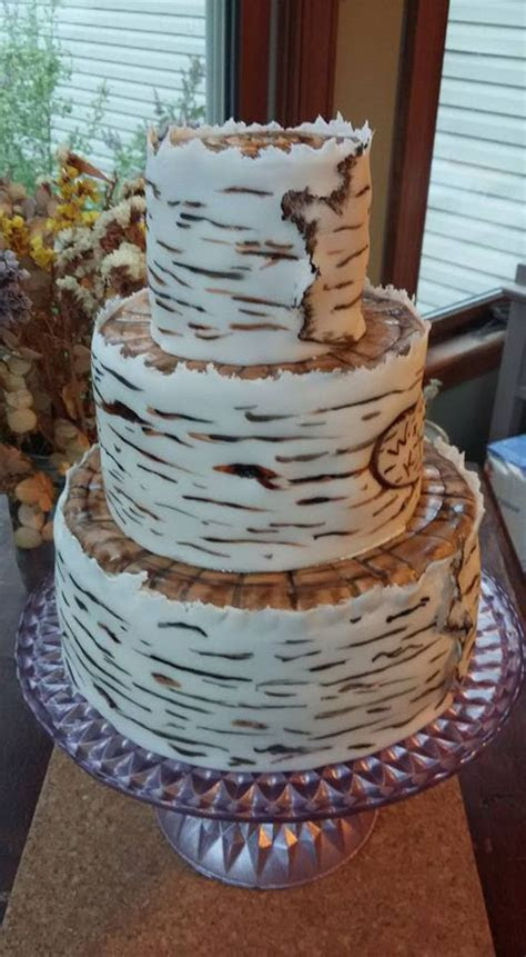 Birch Bark Wedding Cake   CakeCentral.com