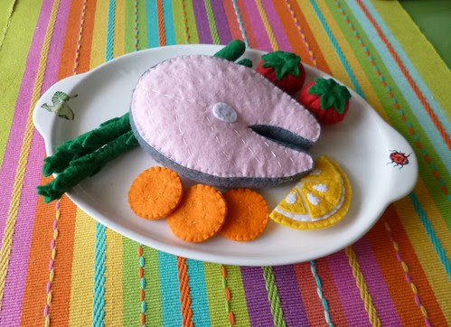 Felt play food - Salmon steak