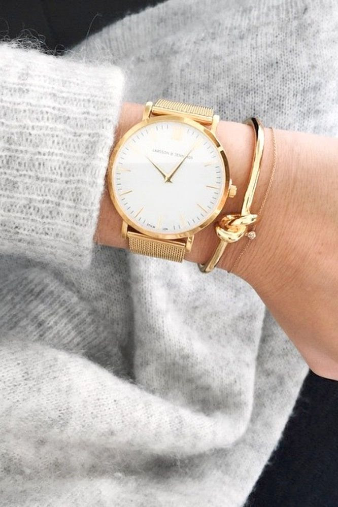 Le Fashion Blog Larsson Jennings Gold Round Watch Heather Grey Sweater Knit Fall Style Knot Cuff Solitaire Diamond Bracelet Dainty Jewelry