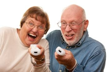 senior citizens playing video games