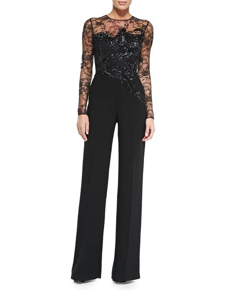 lyst elie saab long sleeve embroidered lace jumpsuit