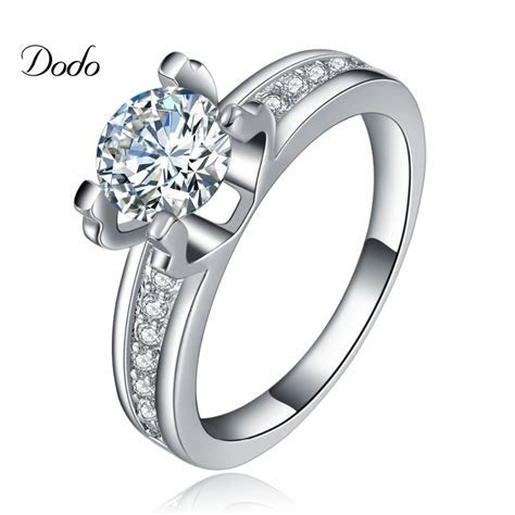 Top Hollow Wedding Rings white gold plated engagement AAA