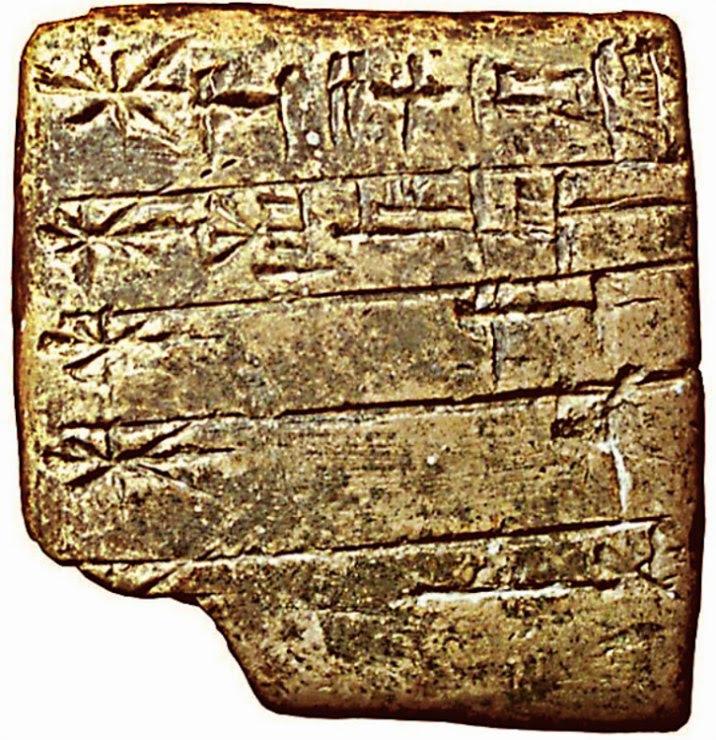 Tablilla sumeria en escritura cuneiforme con una lista de dioses. Siglo XXIV a. C. (Public Domain)
