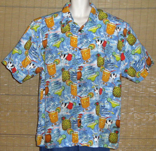 Details about Big Dogs Hawaiian Shirt Light Blue Red Yellow Green Cocktail Recipes Size 2X