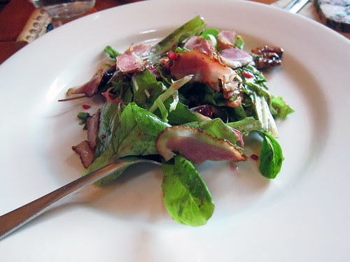 cherries, duck bacon, walnuts, lettuces