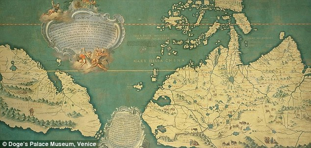 This Venetian map was made from information brought back from China by Marco Polo and Nicolo da Conti. Mr Menzies says it shows North and Central America - upside-down, oriented with north at the bottom