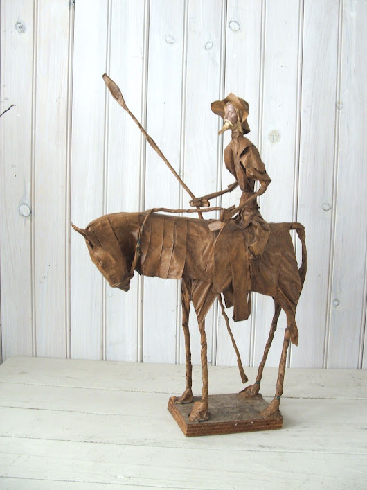 Image: Vintage Paper Mache Don Quixote Mexican Folk Art Sculpture Mexico ...