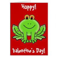 Valentine's Day Frog with Pink Hearts Card