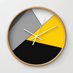 Simple Modern Gray Yellow And Black Geometric Wall Clock by Blackstrawberry - Natural - White