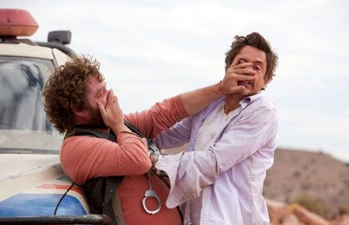Peter and Ethan scuffle after a poignant moment at the Grand Canyon in DUE DATE.