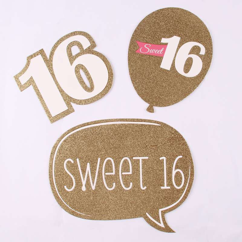 Fengrise 20 Pieces Sweet 16 Birthday Photo Booth Props Baby Shower