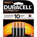Duracell Alkaline Coppertop Batteries, AAA - 4 pack