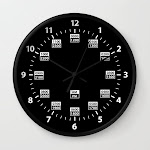 24 Hour Military Style Time Wall Clock by Hobrath - Black - Black