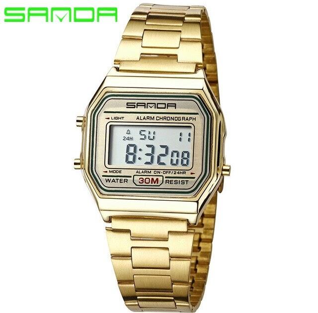 57cf496e Купить Мужские часы саньда Топ брендовые роскошные LED человек Цифровые  наручные Полный Сталь Водонепроницаемый золотые Relogio Masculino 405  Продажа Дешево ...