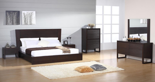 Elegant Wood Modern Design Bed Set - mediterranean - beds - miami ...