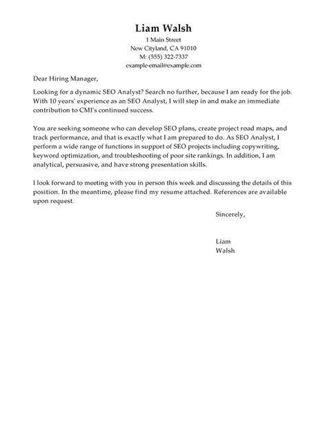 Best SEO Cover Letter Examples | LiveCareer
