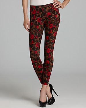 HUE Abstract Floral Jean Leggings