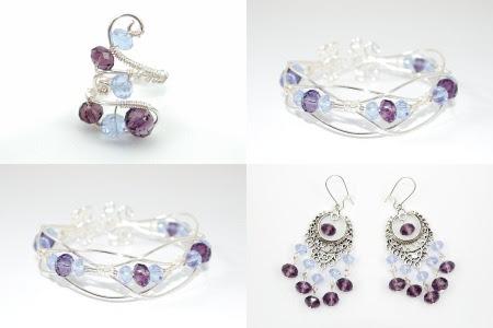 Set bijuterii cristale mov si lila